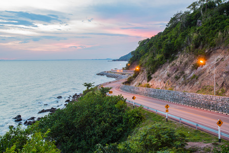 kung kraben a beautiful road to the beach is a major attraction in Chanthaburi Thailand.timelapse Stock Photo