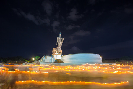 candle lit important visakha bucha the world. The Buddhist full moon day of the month of june. Stock Photo