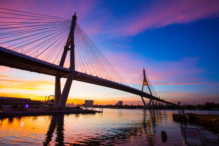 Sunset Bhumibol 1 Bridge bridge communications industry Transport of Thailand. Stock Photo