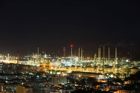 night Oil refinery industry big Beautiful night . Stock Photo
