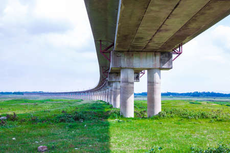 Railway bridge across the Pasak Large water storage dams The drought without water pipeline in Thailand. Stock Photo