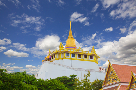Golden pagoda on top of Golden mountain ,Wat Saket Ratcha Wora Maha Wihan is a Buddhist temple in Pom Prap Sattru Phai district, Bangkok, Thailand. The temple dates back to the Ayutthaya era, when it was known as Wat Sakae