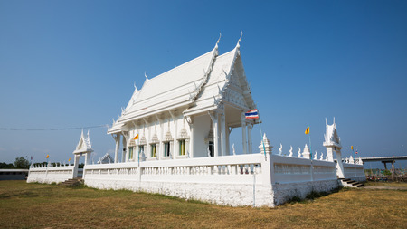 Temple - Wat Khao Laem Sing Beautiful white church in Chantaburi, Thailand Stock Photo
