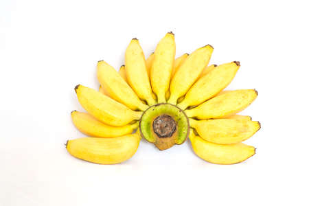 Fruit banana yellow with a white background.