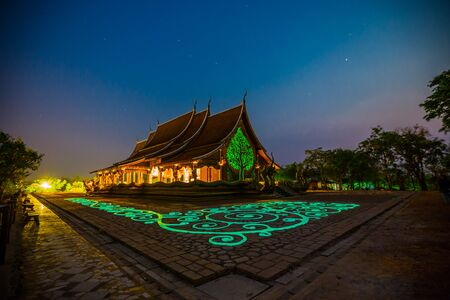 Temple Sirindhorn Wararam Phuproud measuring fluorescence faith amazing value. Ubon thailand Stock Photo