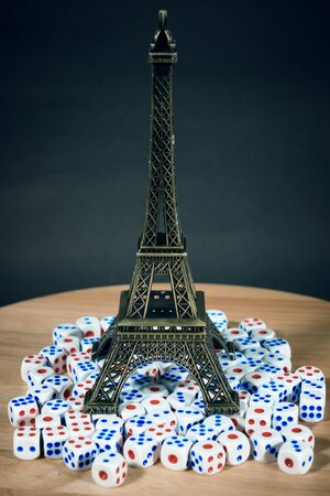 Eiffel Tower simulates a lot of dice. Stock Photo