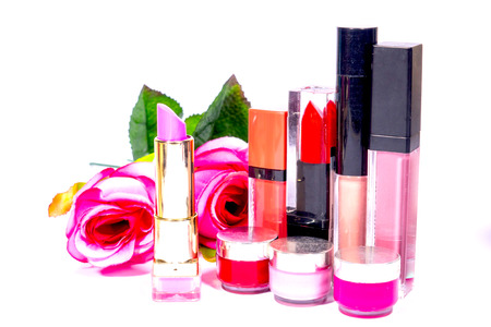Pink rose lipstick Make up cosmetic isolated on white background.