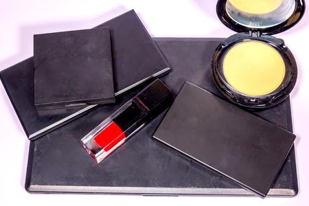set of make-up products isolated on white background. Stock Photo