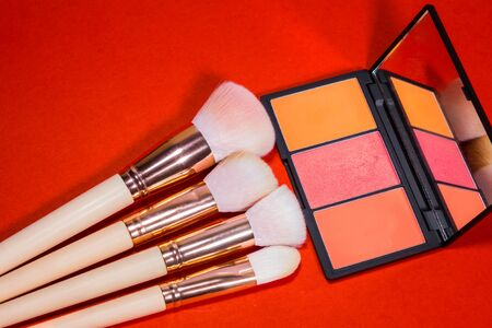 Make up Brush and cosmetic isolated on a red background.