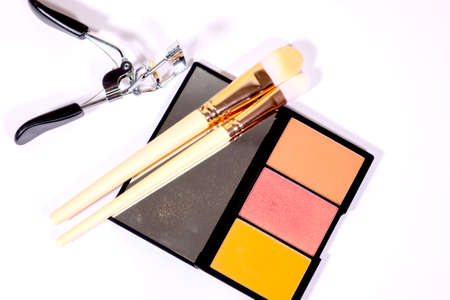 Make up Brush and cosmetic isolated on a white background.