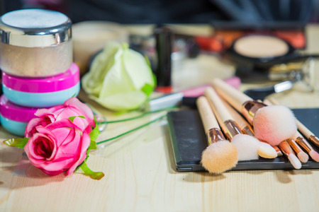 Make-up Brushes with makeup tools Stock Photo