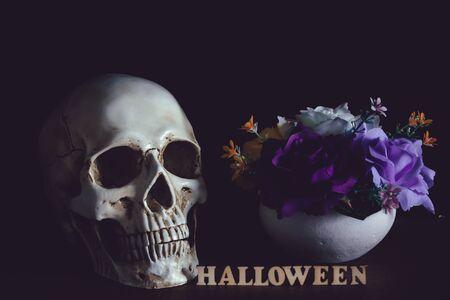 Human skull beside flower vase and wooden alphabet Halloween on wooden floor in halloween day on black background.