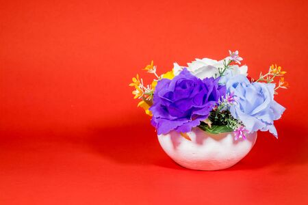 Beautiful flower vase on a red background Stock Photo