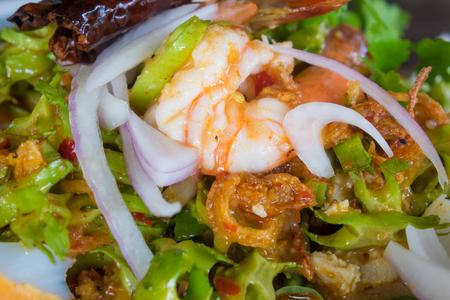 (Yum Tua Poo) Spicy Shrimp Betel nut salad.thai food