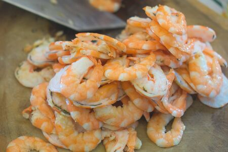 Two half-cut shrimp for cooking. Stock Photo