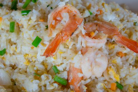 Fried Rice Fried Shrimp Thai style food is a popular fast food.