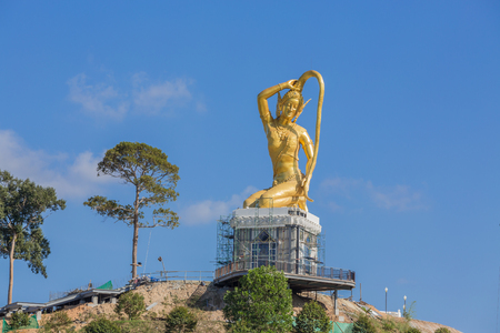 Phra Mae Thorani gold statue is being built according to the belief of Southeast Asian people.
