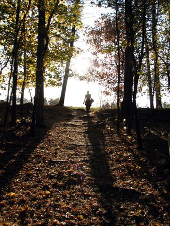 Woman walking out of the forest and into the sunset, Massachusetts