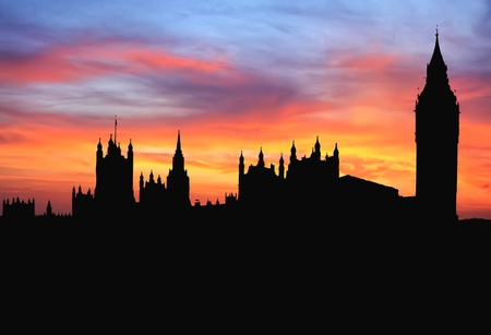 Westminster, London, England Silhouette at Sunset photo