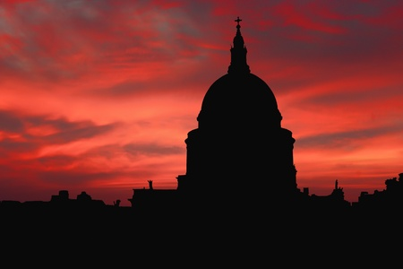 st pauls: St Pauls Cathedral Silhouette at Sunset, London, England