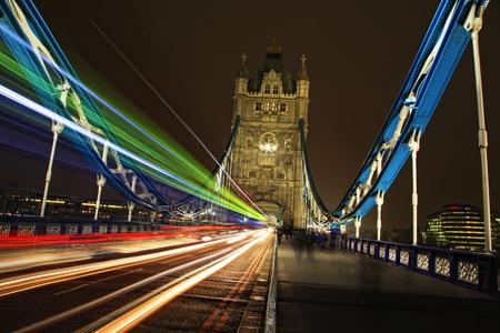 Tower Bridge Light Trails at Night in London, England photo
