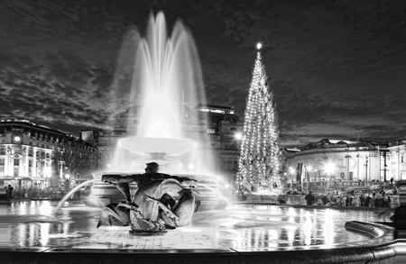 Trafalgar Square at Night Christmas in London, England Black and White