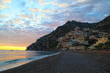 Positano on the Amalfi Coast, Italy at Sunset photo