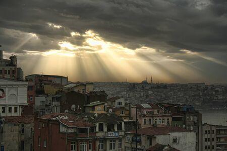 sunbeams: Sunbeams in Istanbul, Turkey Stock Photo