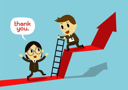 help each other: businessman Help each other Go together, Illustration