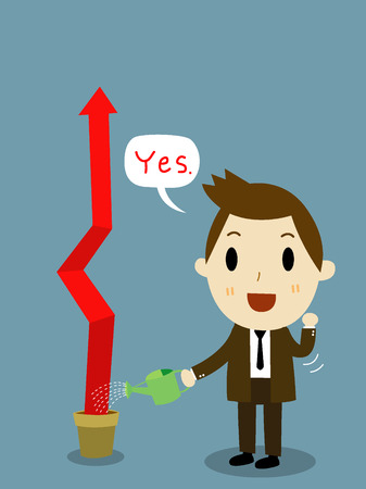 investor: businessman watering financial graph vector
