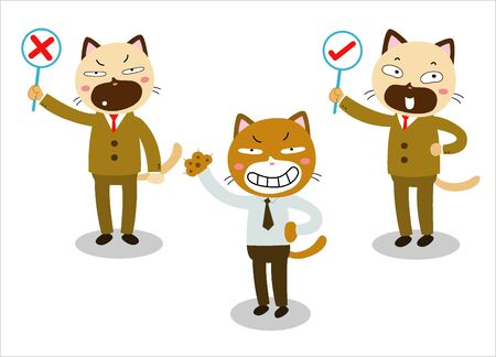 okey: business cat cartoon character isolated on white background vector