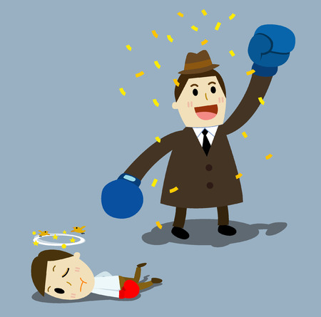 fullbody: two businessmen having a fight with boxing gloves, Illustration