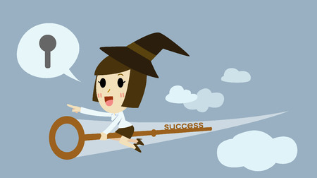 leadership key: Witch young business woman Riding  the key chess  to success . cartoon vector