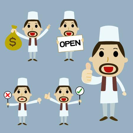 best employee: Muslim businessmen  cartoon character set vector