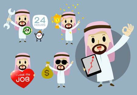 arab man: Arab businessmen  cartoon character set vector