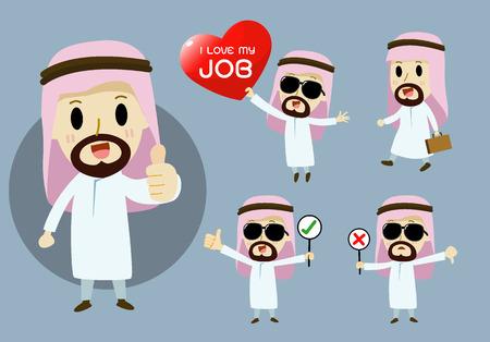 caricaturas de personas: Empresarios árabes personaje de dibujos animados conjunto de vectores Vectores