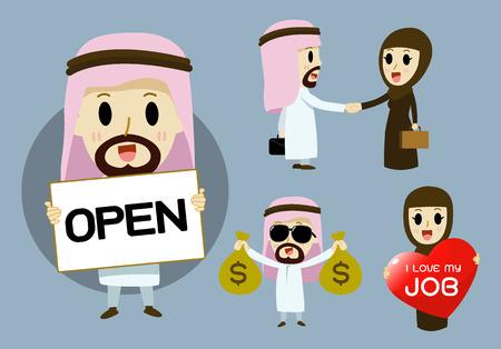 アラブのビジネスマンやビジネスウーマン アラブ漫画文字セット ベクトル