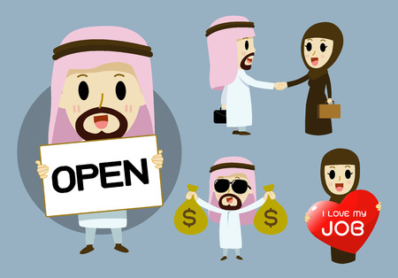middle age women: Arab businessmen and Arab businesswomen cartoon character set vector