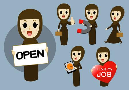 caricatura: Mujer de negocios árabe mujeres trabajadoras conjunto de vectores