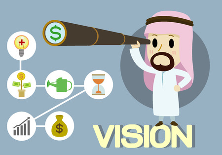 looking for: arabic Businessman using binoculars, looking for money
