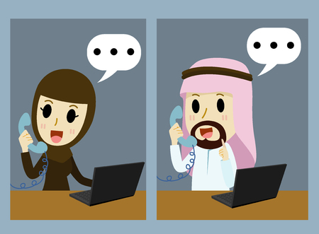 middle age women: arabic Businessman and arabic Businesswoman on the phone