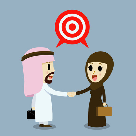 middle age women: arabic Business woman and arabic Businessman Trading of two Trade