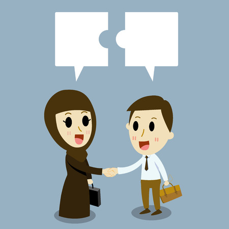 arabic Business woman and  Caucasian Businessman Trading of two Trade Vector