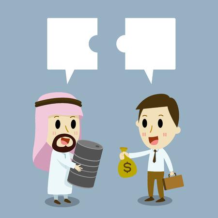 caricaturas de personas: El hombre de negocios �rabe y cauc�sicos Trading Empresario de dos Comercio
