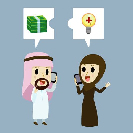 woman middle age: arabic Businessman and arabic Businesswoman on the phone about the investment.