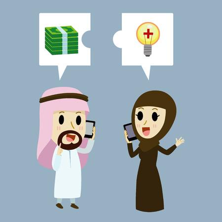 hombre arabe: El hombre de negocios �rabe y empresaria �rabe por tel�fono sobre la inversi�n.