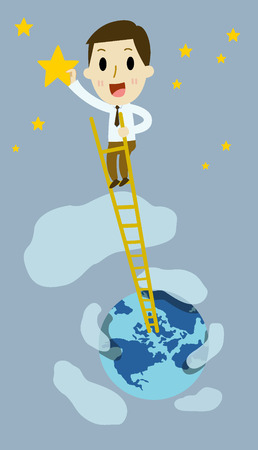 man full body: businessman climbing a ladder reaching to collect stars. Illustration