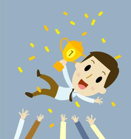 成功したビジネスマンは、彼のチームワークや同僚で投げています。  イラスト・ベクター素材