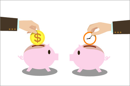 save time: Save time and money Drop into the piggy bank