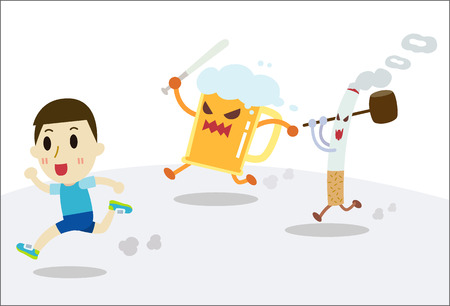 drunk cartoon: The man running away cigarettes and beer.